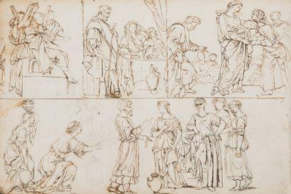 Etienne MONTAGNY (Saint Etienne 1816 - 1895)  Trois albums comprenant des dessins...