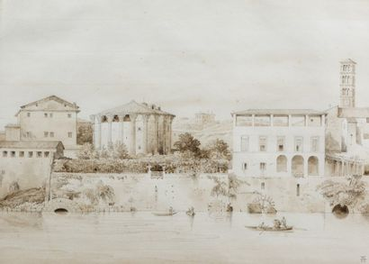 Lancelot Théodore TURPIN DE CRISSÉ (Paris vers 1782 - 1859)  Vue animée des bords...
