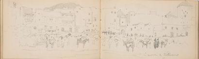 Maurice YVON (Paris 1857 – 1911)  Un album comprenant 38 dessins du Maroc et de...