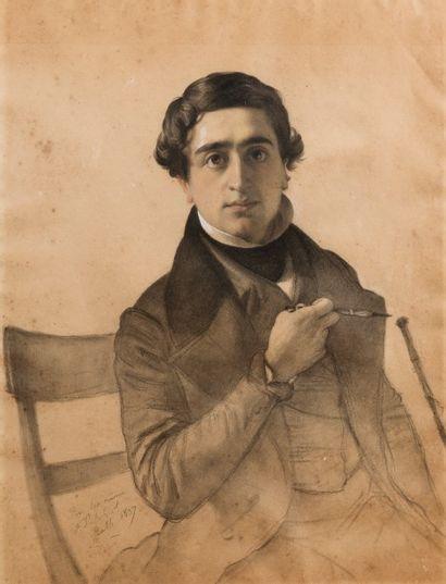 Firmin SALABERT (Gaillac 1811-1895)  Autoportrait  Trois crayons et estompe  39...