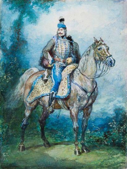 Eugène LAMI (Paris 1800 - 1890)  Portrait équestre d'un hussard  Aquarelle gouachée...