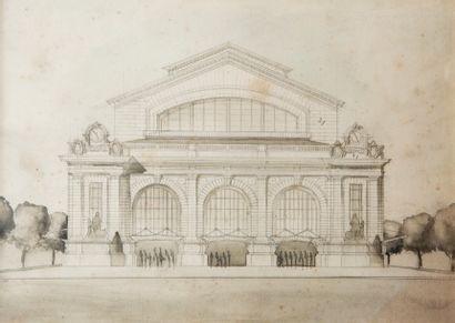 Ensemble de projets d'architecture vers 1880-1900  Aquarelle, crayon noir  34,5...