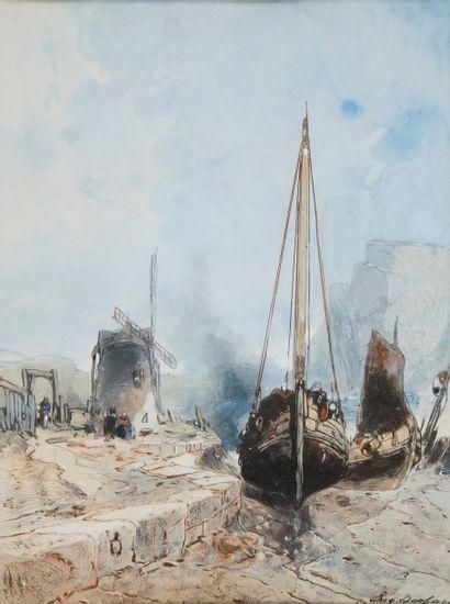 Eugène DESHAYES (1828 - 1890)  Bateaux à...