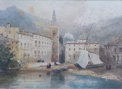 Justin OUVRIE (1806 - 1879)  Port animé en...