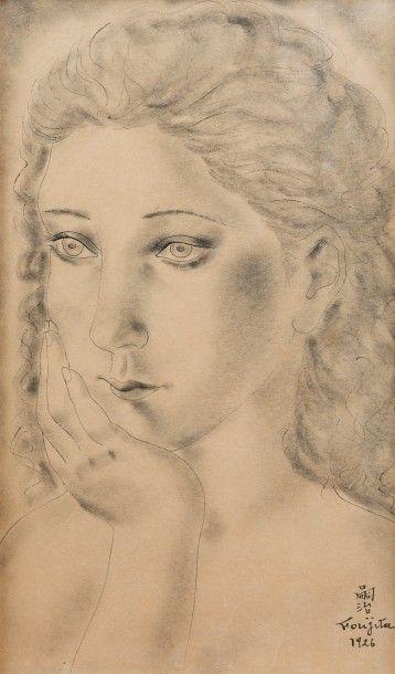 Léonard FOUJITA (1886 – 1968)<br>La jeune femme pensive<br>Plume et encre noire, estompe de crayon n