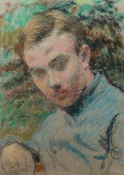 Lucien OTT (Paris c.1870 - Villeneuve Saint Georges 1927)  Portrait d'homme  Pastel...