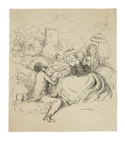 Jacques WELY (1873 - 1910)  Album de 77 caricatures  Plume et encre noire  20,5...