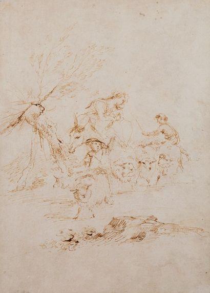 Andrea di LEONE (Naples 1596 - 1677)  Bergers...