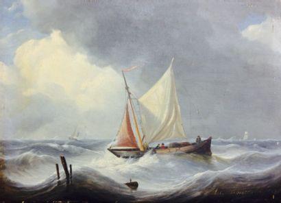 Charles Louis VERBOECKHOVEN  (Warneton 1802 – Bruxelles 1889)  Marine  Panneau de...