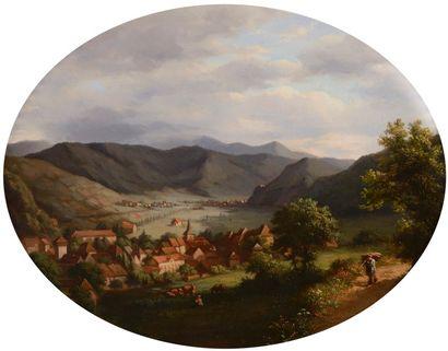 École SUISSE du XIXe siècle  Village en bord...