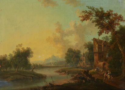 Ecole ALLEMANDE vers 1780  L'entrée du village...