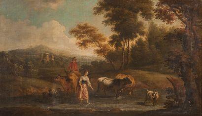 Ecole FRANCAISE vers 1730  Le passage du...