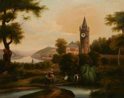 Tableau-pendule représentant un paysage animé...