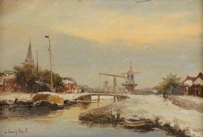 Louis APOL (1850 - 1936)  Village hollandais...