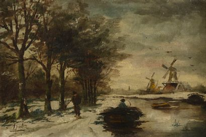 Armand APOL (1879 - 1950)  Canal animé aux...