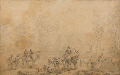 Attribué à Nicolaes Pietersz BERCHEM (Haarlem 1620 – Amsterdam 1683)  Troupeau traversant...
