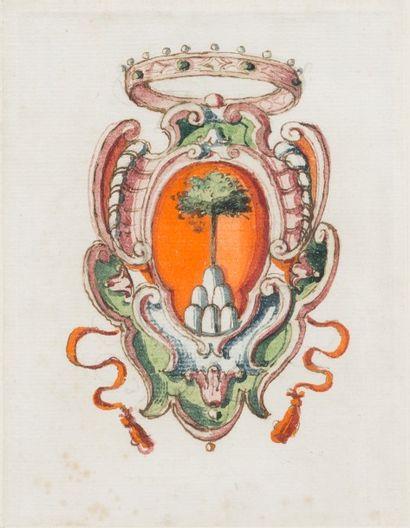 Ecole italienne du XVIIIème siècle  Armoirie...