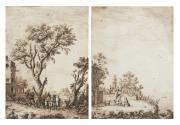 Ecole HOLLANDAISE du XVIII ème siècle  Personnages...