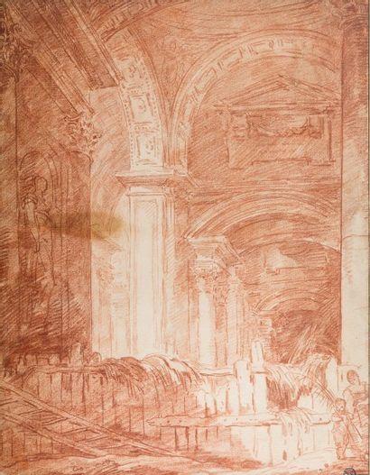 Hubert ROBERT (1733 - 1808)<br>Palais romain transformé en étable <br>Sanguine