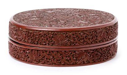 Chine, marque et époque Chenghua (1464-1487) Boite circulaire couverte, en laque...