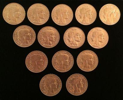 14 pièces en or de 20 francs  1908 x 11 et...