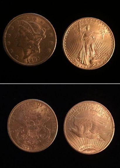 Ensemble composé de 2 pièces de 20 dollars : Liberty 1895 ; et 1931