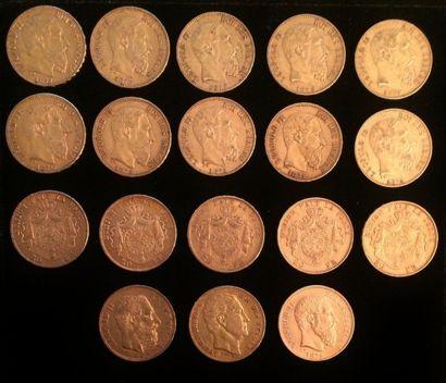 Ensemble composé de 18 pièces de 20 Francs...