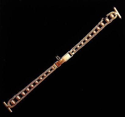 Bracelet de montre en or 18 K (750°/°°)  Poids...