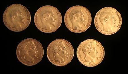 Ensemble composé de 7 pièces de 20 francs...