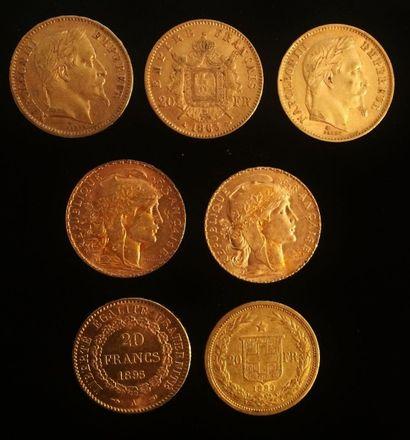 Lot de sept pièces en or :  - 2 x 20 francs...