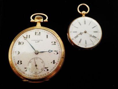 Une montre gousset et un chronomètre LIP...