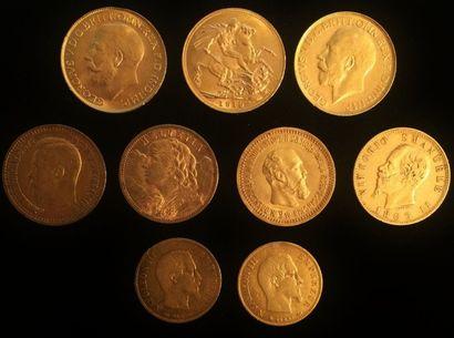 Lot de neuf pièces en or :  - 3 x Georges...