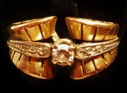 Bague en or 18 K (750°/°°) dans le style...