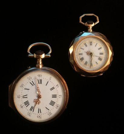 Lot de deux montres à gousset de dame, en...