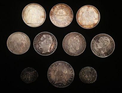 Un ensemble de dix pièces de monnaie argent...
