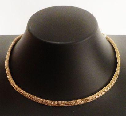 Collier ruban tressé décoré de trèfles à...