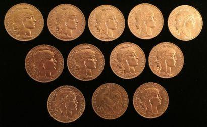 12 pièces en or de 20 francs 1908