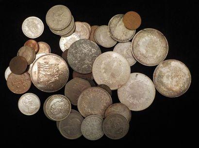 Lot de pièces en argent :  5 x 50 francs...