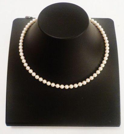 Collier de perles de culture avec fermoir en or jaune 18 K (750 °/°°) serti d'un...