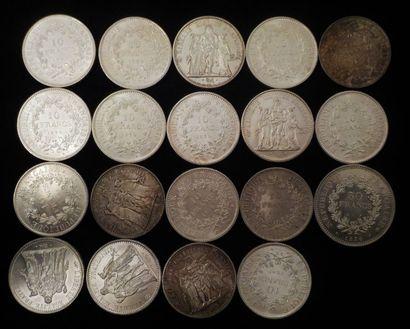 18 x 10 francs argent, période 1960 - 1970...