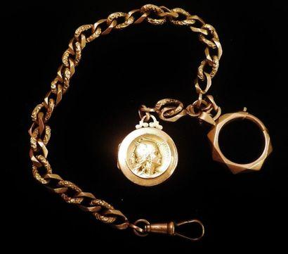 Chaine de montre en or jaune 18 K (750 °/°°)...