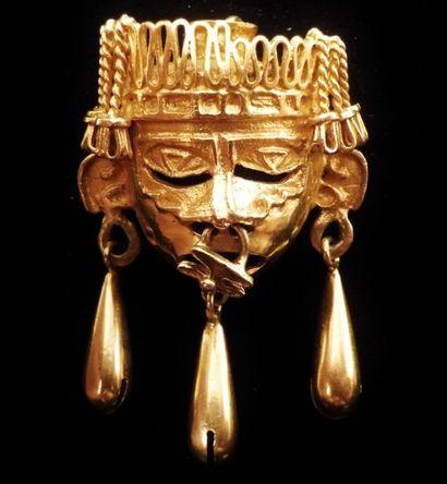 Pendentif monté en broche en or jaune (750°/°°)...