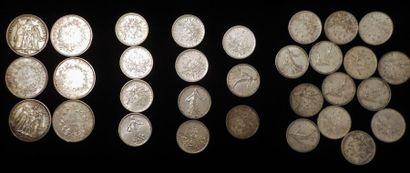 Lot de pièces en argent :  6 x 10 francs...