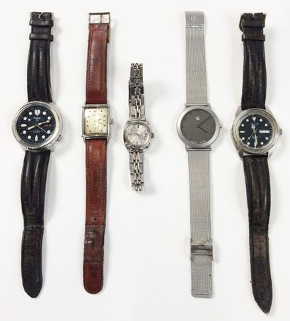 Ensemble de cinq montres diverses :  - SEIKO,...