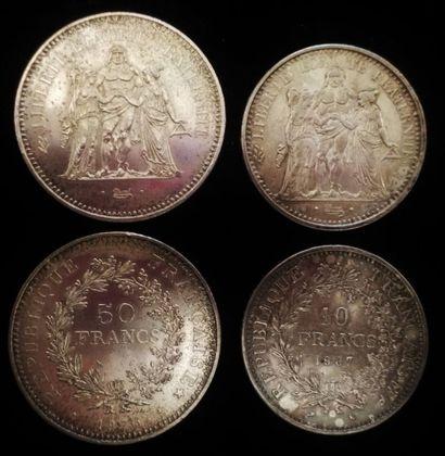 Lot de pièces en argent :  2 x 50 francs 1975  2 x 10 francs 1965 et 1967