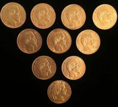 10 pièces en or de 20 francs  A1851; 1852;...