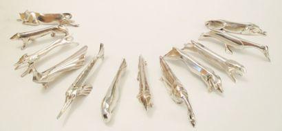 GALLIA  Douze portes couteaux animaux en métal argenté, dans leur écrin d'origi...