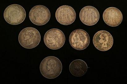 Lot de 10 pièces en argent, France et Espagne....