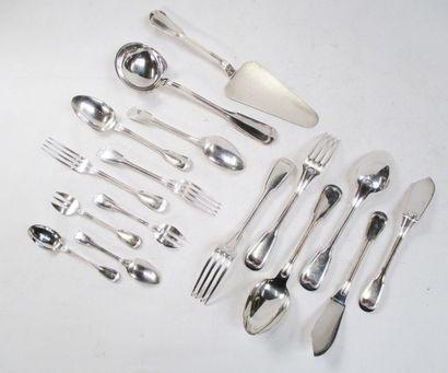 Ménagère en métal argenté, modèle filet,...