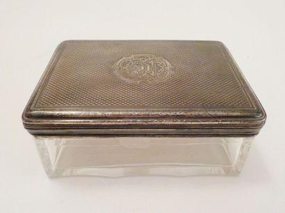Boîte rectangulaire en verre blanc à encolure...